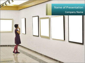 Woman at Art PowerPoint Template