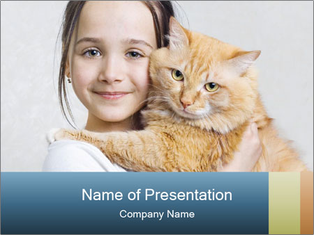 Young Girl With Red Cat PowerPoint Templates
