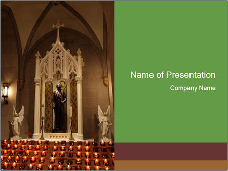 Candles In Christian Church PowerPoint Templates