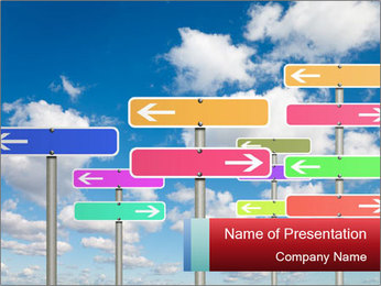 Colorful Road Signs PowerPoint Template - Slide 1