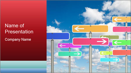 Colorful Road Signs PowerPoint Template
