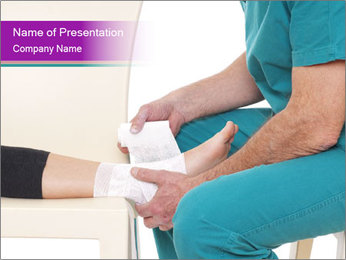 Doctor Makes Bandage PowerPoint Template - Slide 1