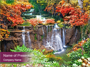 Waterfall In Thailand PowerPoint Templates - Slide 1