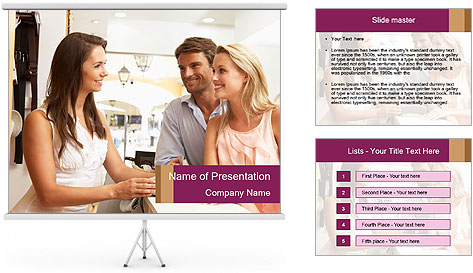 Couple Talking To Shop Assistant PowerPoint Template
