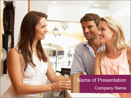 Couple Talking To Shop Assistant PowerPoint Templates