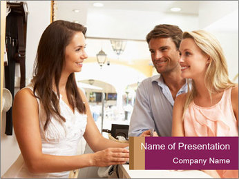 Couple Talking To Shop Assistant PowerPoint Templates - Slide 1