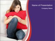 Woman With Red Pillow PowerPoint Templates