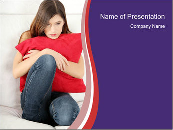 Woman With Red Pillow PowerPoint Template - Slide 1