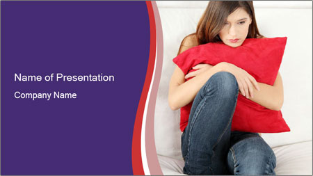 Woman With Red Pillow PowerPoint Template