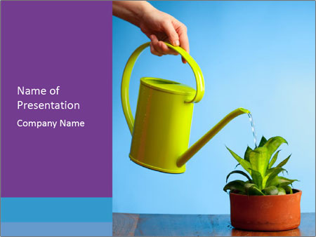 Plant And Wateringpot PowerPoint Templates