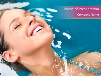 Happy Woman In Water PowerPoint Templates - Slide 1
