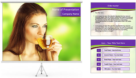 Woman Loves Herbal Tea PowerPoint Template