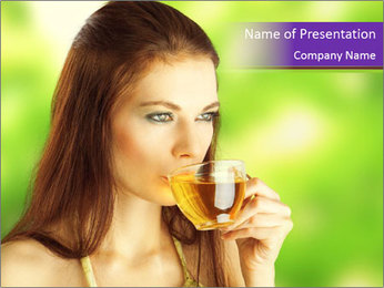 Woman Loves Herbal Tea PowerPoint Template - Slide 1