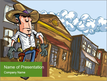 Western Gunman Cartoon PowerPoint Templates