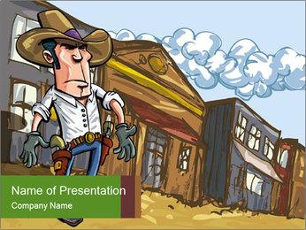 Western Gunman Cartoon PowerPoint Template - Slide 1