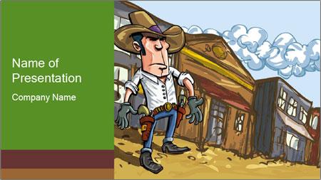 Western Gunman Cartoon PowerPoint Template