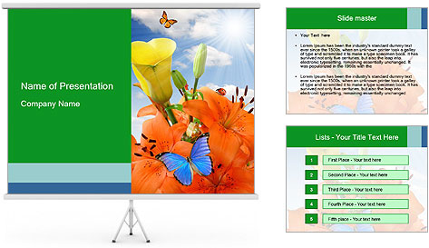 Flowers And Butterfly PowerPoint Template