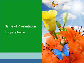 Flowers And Butterfly PowerPoint Templates - Slide 1