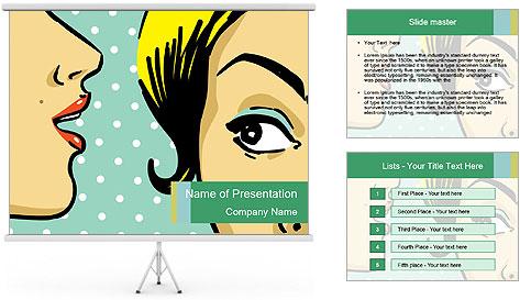 Woman telling secrets PowerPoint Template