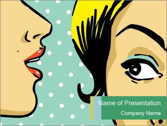 Woman telling secrets PowerPoint Template - Slide 1
