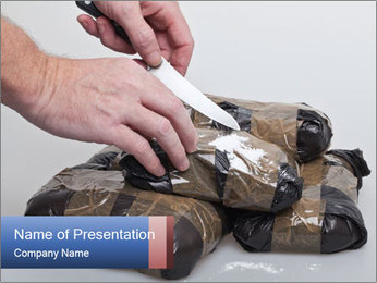 Examining packets of cocaine PowerPoint Template - Slide 1