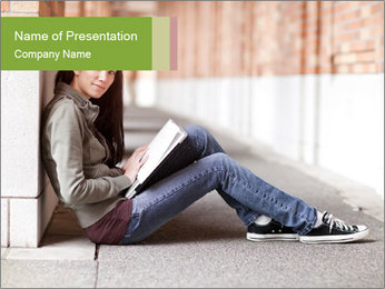 Student studying PowerPoint Template - Slide 1