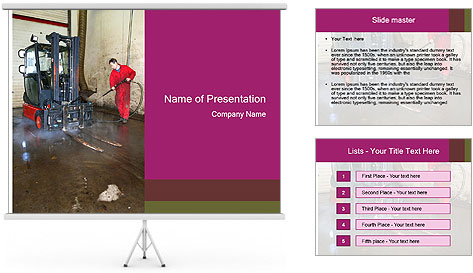 Man cleaning a forklift PowerPoint Template