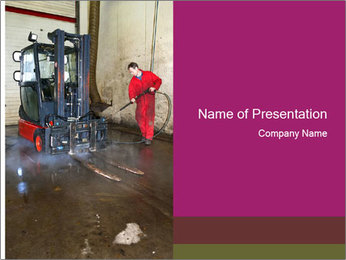 Man cleaning a forklift PowerPoint Template - Slide 1