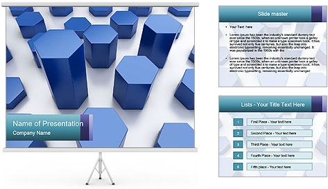 Abstract blue metallic PowerPoint Template