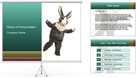 Funny grey rabbit PowerPoint Template