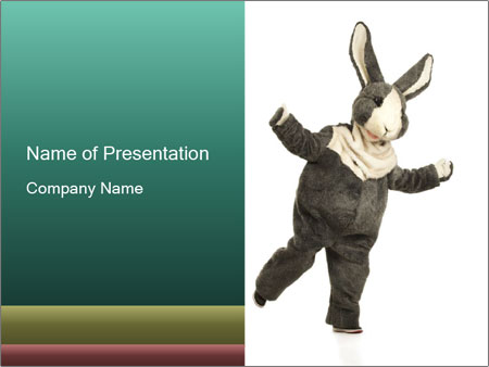 Funny grey rabbit PowerPoint Templates