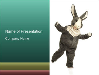 Funny grey rabbit PowerPoint Template - Slide 1