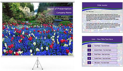 Butchart garden PowerPoint Template