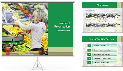 Woman shopping PowerPoint Template