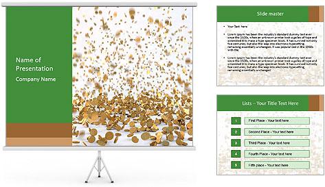 Golden coins rain PowerPoint Template