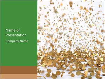 Golden coins rain PowerPoint Template - Slide 1