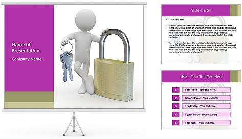 Huge padlock PowerPoint Template