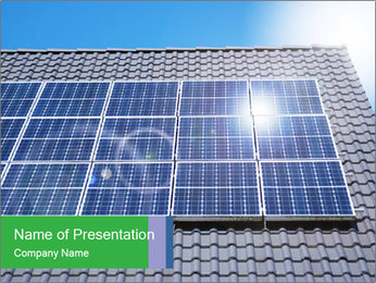 Roof with solar panels fragment under sunny blue sky PowerPoint Template - Slide 1
