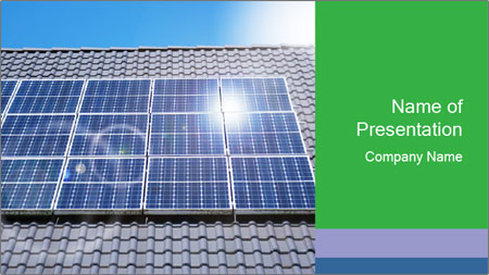 Roof with solar panels fragment under sunny blue sky PowerPoint Template