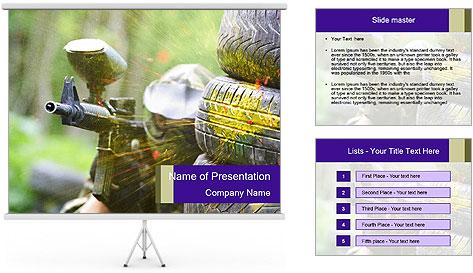 Paintball sport player PowerPoint Template