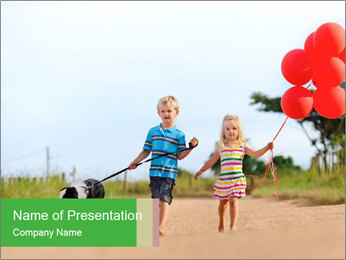 Red balloons PowerPoint Template