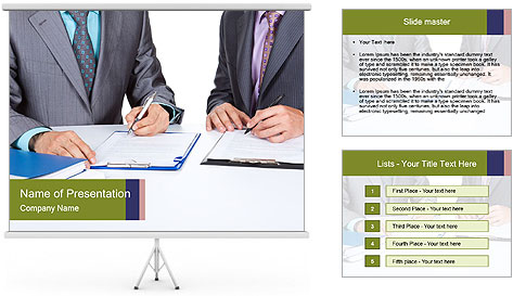 Two business people PowerPoint Template
