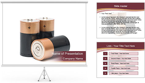 Three batteries PowerPoint Template