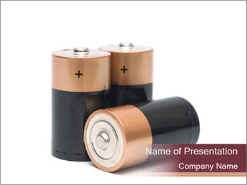 Three batteries PowerPoint Template - Slide 1