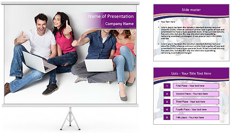 Young group happy PowerPoint Template