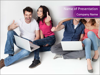 Young group happy PowerPoint Template - Slide 1