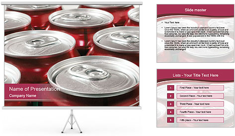 Soda pop cans PowerPoint Template