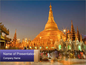 Twilight over Swedagon PowerPoint Template - Slide 1
