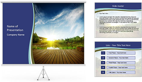 Sunset in park PowerPoint Template