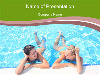 Two girlfriends in a swimming pool PowerPoint Template